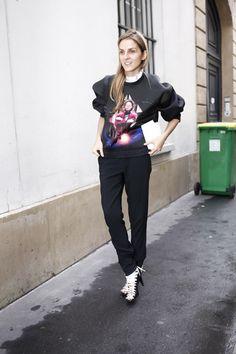 Paris Fashion Week: Gaia Repossi with Balenciaga space-age sweatshirt and shoes #PFW