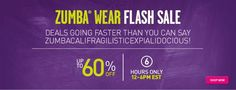 Selected items up to 60% off! Save an additional 10% on top of that using Affiliate Code CONSABOR at checkout! http://zumba.com/ FLASH SALE EXTENDED UNTIL 9 AM EST, THURSDAY, MAY 16!