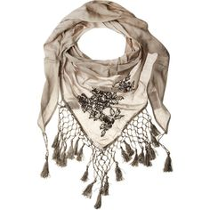 Stone embellished scarf ($12) ❤ liked on Polyvore featuring accessories, scarves, lightweight scarves, scarves &amp snoods, women's accessories, crochet scarves, sequin scarves, dorothy perkins and triangular shawl