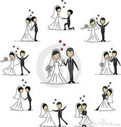 Wedding cartoon characters,  vector