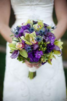 Purple and green assorted flower bridal bouquet | villasiena.cc