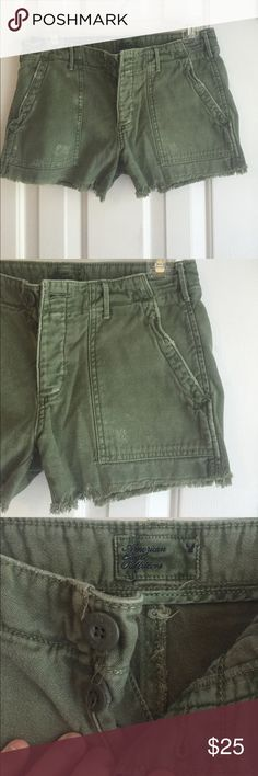 Army Green Distressed Shorts These army green shorts are from American Eagle and a size zero. The bottoms are frayed. They look SO cute on. The shorts are distressed, but without holes. Great for a relaxed, boho look. Fit size 0-2 American Eagle Outfitters Shorts