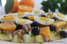 Ensalada de patatas con atún y naranjas Fresco, How To Cook Potatoes, Tortillas, Summer Recipes, Fruit Salad, Food To Make, Sushi, Salads, Good Food