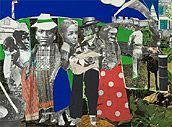 """Romare Bearden (1911-1988): COLLAGE, A Centennial Celebration Romare Bearden Watching the Good Trains Go By, c.1969 mixed media collage on board 9"""" x 12 1/4"""""""