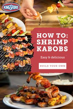Shrimp kabobs are an easy way to give great grilled flavor to shrimp and vegetables. Kabob Recipes, Grilling Recipes, Fish Recipes, Seafood Recipes, Appetizer Recipes, Dinner Recipes, Cooking Recipes, Healthy Recipes, Healthy Tips
