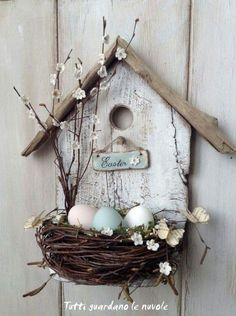 spring decoration tinker with natural materials wood-birdhouse-bird nest branches -.- spring decoration tinker with natural materials wood-birdhouse-bird nest-branches-easter eggs Spring Crafts, Holiday Crafts, Wood Crafts, Diy And Crafts, Primitive Crafts, Cardboard Crafts, Fabric Crafts, Easter Wreaths, Spring Wreaths