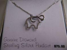 "Elephant Pendant Necklace Sterling Silver Delicate Diamonds 18"" Chain Kohl's"