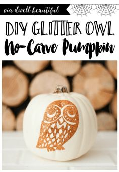 An easy No-Carve pumpkin for Halloween or fall decor! Follow along with this craft tutorial for a fun fall idea!