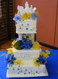 Blue & Yellow wedding cake I made!
