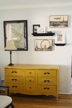 lovely re-purposed dresser and fab wall design from Nikki Green (projectphxhome.com)