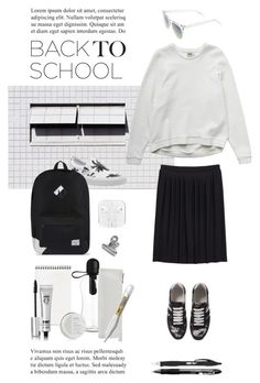 """back to school"" by fabuluz ❤ liked on Polyvore featuring NIKE, Carven, Vans, Herschel Supply Co., Monki, BIC, Eyeko, Komono, BackToSchool and blackandwhite"