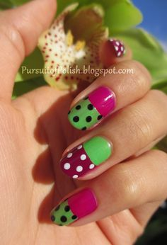In Pursuit of Polish: Mod Plum  Green Two Tone Manicure Tutorial