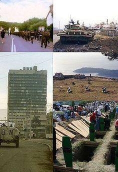 Guerre de Yougoslavie (1991-2001) Chute du communisme Déclarations d'indépendance de la Slovénie, de la Croatie, de la Bosnie-Herzégovine et du Kosovo