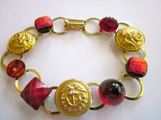 MARINE CORPS antique uniform button bracelet. SCARLET AND GOLD! Show support for your favorite Marine. Marine wife, Marine mom