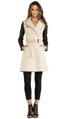 Mackage leather sleeve Trench