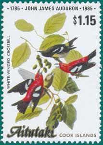Aitutaki (1985), SG # 522, Sc # 372, White-winged Crossbill (Loxia leucoptera), Audubon Plate-408