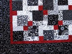 Valentine Quiltworks: Disappearing 9 Patch Quilt rst adds -- the black and white + bright approach can be fun, looks quite intentional. We'd have to plan a unified color placement for the blocks (red center, black in corners) Colchas Quilting, Quilting Projects, Quilting Designs, Quilting Ideas, Nine Patch Quilt, Disappearing Nine Patch, Black And White Quilts, Scrap Quilt Patterns, Charm Quilt