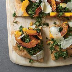 Spelt Focaccia with Kale, Squash and Pecorino | Chef Paul Kahan makes this healthy focaccia with spelt flour, which is high in protein and gives the bread an appealingly hearty texture. Instead of using an excessive amount of cheese or meat, he tops the focaccia with tangy marinated kale, soft and sweet slices of winter squash and a few shavings of nutty, salty pecorino cheese.
