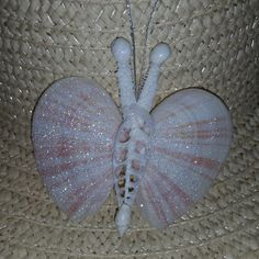 This Seashell Butterfly is handmade here at Sea Things. This Butterfly is all Natural in color. The Wings are polished or Glittered. She is really very pretty and creative with Coral Antennas and each Seashell Ornaments, Seashell Art, Seashell Crafts, Beach Crafts, Mermaid Crafts, Starfish, Fun Diy Crafts, Crafts To Make, Arts And Crafts