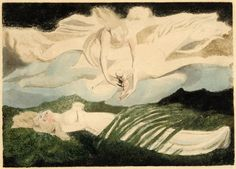 """Unfinished trial print for """"Pity""""; a gowned female figure lying supine on the ground, partially covered by vegetation; above, a white horse flying through the sky; a female figure riding the horse, reaching down; her arms circling a nude infant, seen from behind, reaching and looking upwards; in the sky, also another horse and another female figure, left unfinished and very indistinct.  c.1795  Colour monotype in green, black and brown, with hand colouring William Blake"""