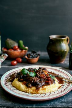 From The Kitchen: Mexican Braised Beef Cheeks with Soft Cheesy Polenta Meat Recipes, Mexican Food Recipes, Cooking Recipes, Fun Recipes, Slow Roast Lamb, Pork Cheeks, Braised Beef, Beef Dishes, Carne