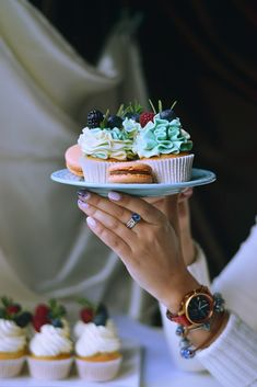 Vanilla cupcakes with berries