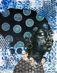 10 Emerging Black Female Artists to Collect – BLACK ART IN AMERICA™ -- Delita Martin centralizes the black female form in a space that has traditionally marginalized them. Overlaying prints onto figures beckons African textiles and speak to the connection African American Artist, African Artists, African Paintings, American Women, American History, Native American, Black Female Artists, Female Form, African Textiles