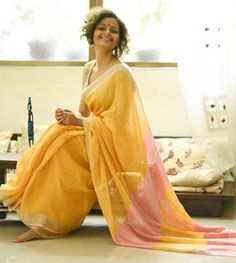 Linen Sarees - Handloom Linen- A Sunflower Garden With A Dull Gold Fence Visited By A Rose Butter Fly A Fairytale With A Rose Pink Blouse Piece By Suta PC 19757 - Thumbnail