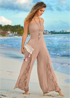 Collected and confident, this bandeau jumpsuit with peek-a-boo lace accents on the legs will take you where you need to go. - Her Crochet Look Fashion, Fashion Pants, Womens Fashion, Fashion Trends, Fashion Beauty, Classy Outfits, Casual Outfits, Summer Outfits, Modest Fashion
