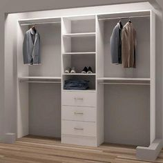 Small walk in closet ideas as well as organizer design to motivate you. TidySquares Inc, Demure Design Closet System Bedroom Closet Design, Small Bedroom Designs, Master Bedroom Closet, Small Room Design, Bedroom Wardrobe, Closet Designs, Home Decor Bedroom, Small Bedrooms, Bedroom Ideas