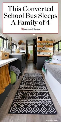 This family of four's home on wheels is packed with genius small-space storage and living ideas PLUS has a very inspiring plant propagation wall! #tinyhomes #tinyhours #tinyhouseonwheels #houseonwheels #convertedbus #smallspaces #smallspacehacks #storageideas #storagetips #boho #bohodecor Small Space Living, Tiny Living, Small Spaces, Small Space Storage, Storage Spaces, Green Ottoman, School Bus House, Family Of 4, Family Homes