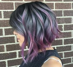 Hair Styles For Women Short Pretty Hairstyles (Cool Braids Easy) Purple Balayage, Balayage Hair, Purple Highlights, Peekaboo Highlights, Haircolor, Rainbow Highlights, Balayage Color, Hair Styles 2016, Short Hair Styles