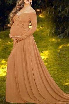 1d2a8f53 Maternity Off Shoulder Long Sleeve Floor-Length Gorgeous Maxi Dress –  streettide