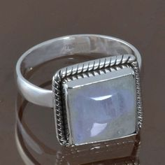 RAINBOW MOONSTONE 925 STERLING SILVER RING JEWELRY 5.24g DJR8874 SIZE-7.5 #Handmade #Ring