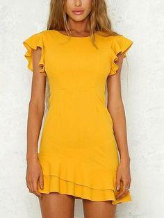 Yellow Open Back Ruffle Sleeve Mini Dress White Sexy Spaghetti Strap V Neck Backless Lace Maxi Prom Dress Source by bethnyroney. Ruffle Sleeve Dress, Mini Dress With Sleeves, White Mini Dress, The Dress, Yellow Dress Casual, Yellow Dress Summer, Cute Dresses, Casual Dresses, Short Sleeve Dresses
