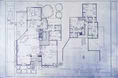 Mark Bennett's blueprint lithographs of popular sitcoms and TV series. (home of Mike and Carol Brady shown here)