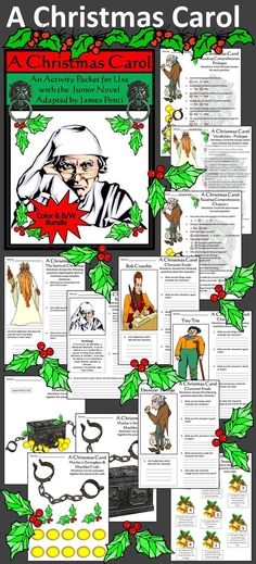 A Christmas Carol Activity Packet: Complements the book, A Christmas Carol Junior Novel, adapted by James Ponti, based on Charles Dickens classic. Contents include: * Reading Comprehension Quizzes * Vocabulary Worksheets * Sequencing Activity * Character Studies - Ebenezer Scrooge, Tiny Tim, & Bob Cratchit * Bah, Humbug! Writing Activity * Spirit of Christmas Writing Activity * Marley's Strongbox Craft #Christmas #Carol #Reading #Language #Arts #Activities #Teacherspayteachers