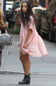 Stunning beauty: Zoe Kravitz cut a stylish figure in a pink dress on Monday in New York Ci...