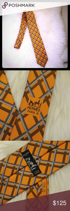 HP. SOLD Hermes 100% Silk men's 60 Inch Necktie nwot. Orange and grey diamond pattern. New with box. They're was never a tag on it. Comes with tons of Hermes ribbons. Ready to be wrapped! Hermes Accessories Ties