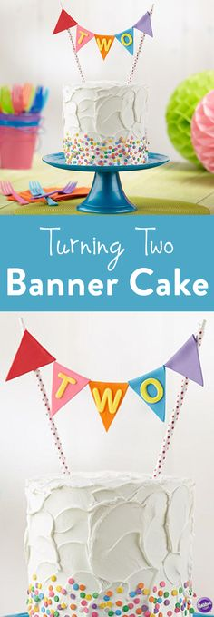How to Make a Banner Cake - It's a banner year to celebrate! Craft this topper using Decorator Preferred Fondant and the Wilton Alphabet/Number Cut-Outs Set. Confetti sprinkles from the Wilton Flowerful Medley 6-Mix Assortment add an extra splash of color to this buttercream-iced cake. Perfect for celebrating a birthday!