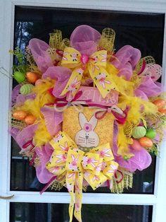 Easter Deco Mesh Wreath by WreathsEtc on Etsy, $145.00