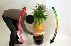 Macetas decorativas para hacer compost con lombrices