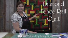 "A great tutorial! Jenny Doan demonstrates how to quickly and easily make a stunning Fence Rail Diamond Quilt using jelly rolls (2.5"" x 44"" strips of quilting fabric)."