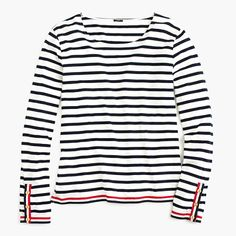 Crew Women Top Grosgrain Ribbon Striped T-shirt with nautical buttons S Nautical Tees, Nautical Stripes, Striped Tee, Grosgrain Ribbon, Shirt Outfit, Navy And White, J Crew, Tee Shirts, Buttons