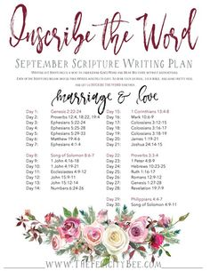September Scripture Writing Plan
