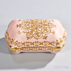 Jeweled Coalport Porcelain Cushion-shaped Box and Cover | Sale Number 2835B, Lot Number 975 | Skinner Auctioneers