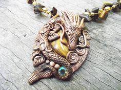 Oriental Dragon Pendant handmade ooak tigers by HiddenTreasury12, $55.00