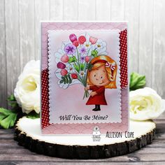"""Will You Be Mine? card by Allison Cope featuring the Gerda Steiner Designs digital stamp """"Flowers For You"""" stamp Flowers For You, Little Flowers, Coloring Tutorial, Happy Thursday, Cute Little Girls, White Ink, Floral Bouquets, Candyland, Digital Stamps"""