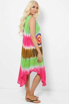 Tie Dye Sleeveless Midi Dress Asymmetric Boho Hippie Festival Beach Pink Green #Unbranded #KaftanBeachDress #Casual Hippie Festival, Boho Hippie, Boho Dress, Kaftan, Pink And Green, Tie Dye Skirt, Beachwear, Summer Dresses, Casual