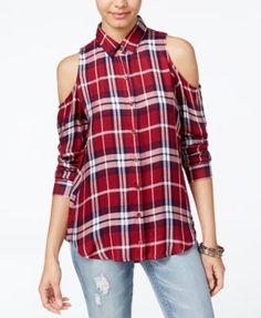 Polly & Esther Juniors' Plaid Cold-Shoulder Button-Front Shirt